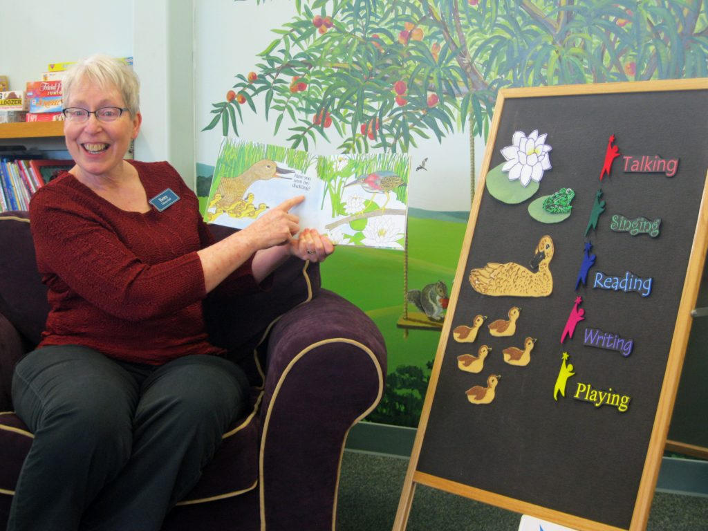 Betty leads a story time at The Plains library,
