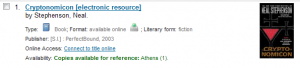 Electronic resource in search results