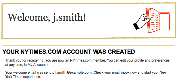 New York Times Account Created