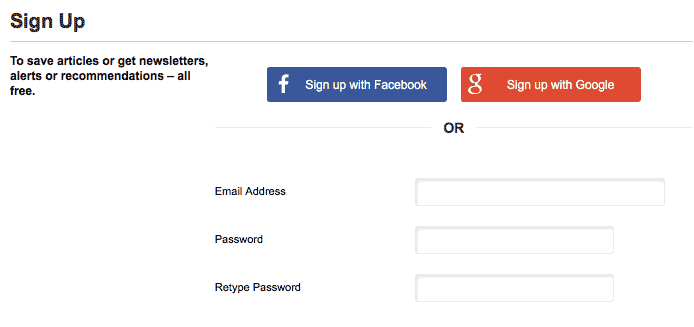 New York Times Registration Screen